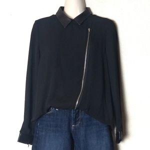 The Kooples | Long Sleeve Zip-Up Collared Top